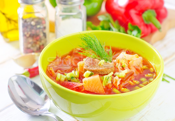 Raiz de beterraba sopa comida restaurante jantar vermelho Foto stock © tycoon
