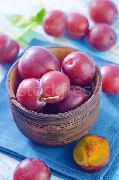 Pruimen natuur blad gezondheid groene Blauw Stockfoto © tycoon