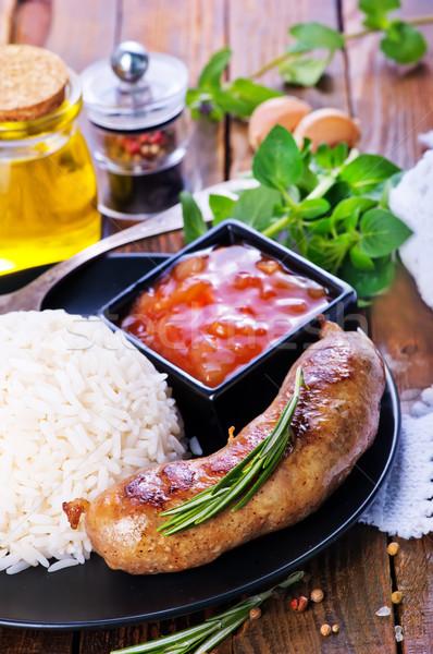 Főtt rizs kolbászok sült tányér ázsiai Stock fotó © tycoon
