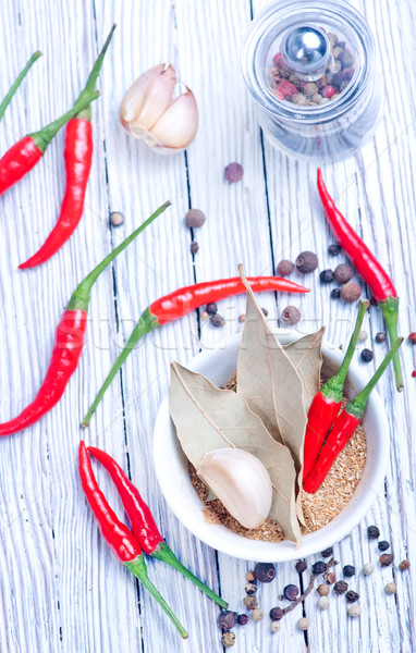 Aroma Spice Rood hot chili zout Stockfoto © tycoon