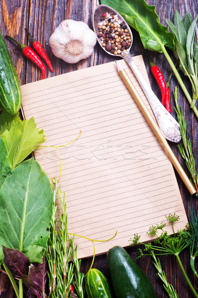 Nota recept Spice tabel voedsel notebook Stockfoto © tycoon