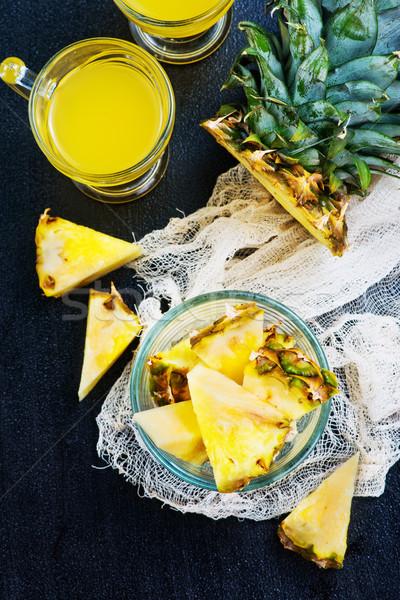 Ananás fresco suco tabela textura madeira Foto stock © tycoon