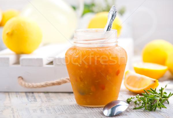 Сток-фото: лимона · Jam · стекла · банку · таблице · фрукты