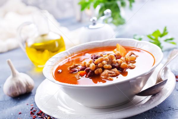 Sopa de frijol sopa frijol carne tazón rojo Foto stock © tycoon