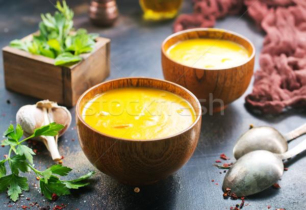 Сток-фото: тыква · суп · чаши · таблице · продовольствие · оранжевый