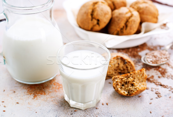 Stock photo: bread and milk on a table