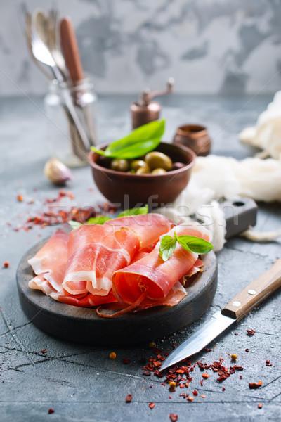 Gerookt ham peper maaltijd zout Stockfoto © tycoon