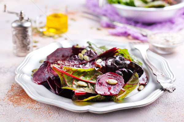 Salade noten metaal plaat voorjaar natuur Stockfoto © tycoon