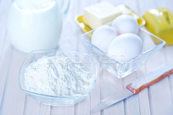 Ingrédients blanche table bois gâteau boire Photo stock © tycoon