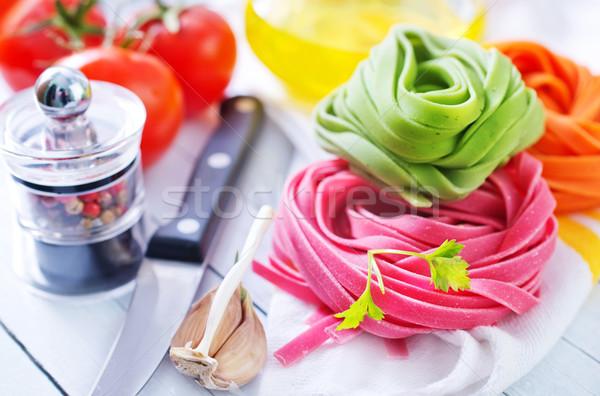 сырой пасты цвета деревянный стол здоровья фон Сток-фото © tycoon
