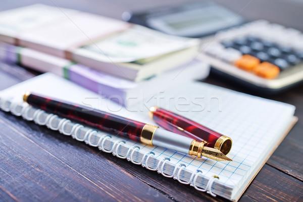 Pen nota business financieren bank goud Stockfoto © tycoon