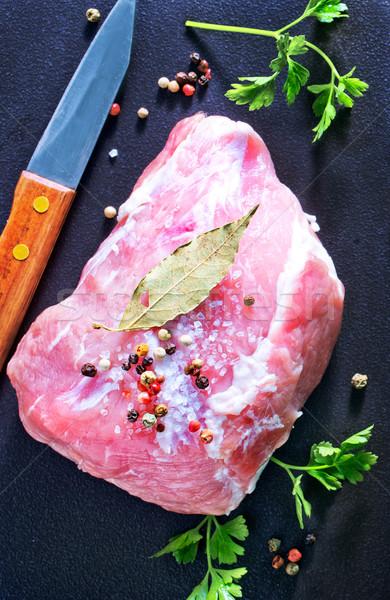 сырой мяса соль Spice таблице кухне Сток-фото © tycoon