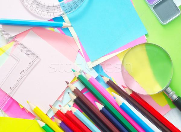 школьные принадлежности школы студент карандашом ноутбук цвета Сток-фото © tycoon