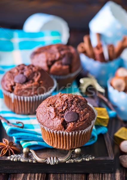 Cioccolato muffins Spice tavola home mangiare Foto d'archivio © tycoon
