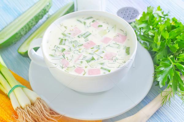 Soğuk çorba gıda yaprak yaz yeşil Stok fotoğraf © tycoon