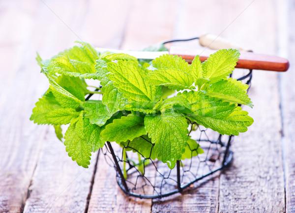 Fresco de mesa de madeira comida verde medicina Foto stock © tycoon
