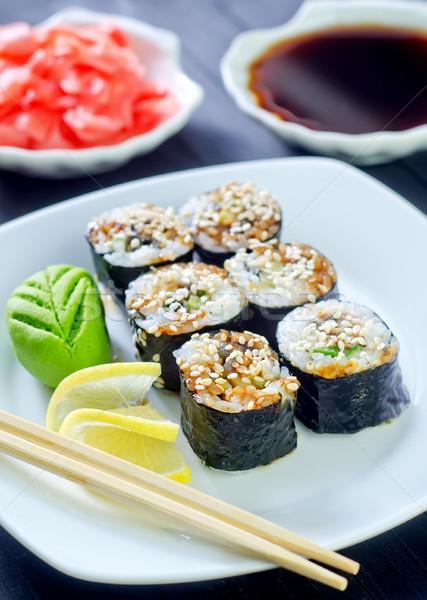 Sushi gıda yumurta Japon biber pirinç Stok fotoğraf © tycoon