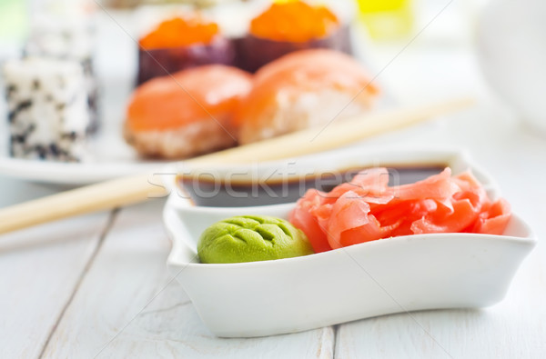 ginger, vasabi and soy sauce in white bowl Stock photo © tycoon