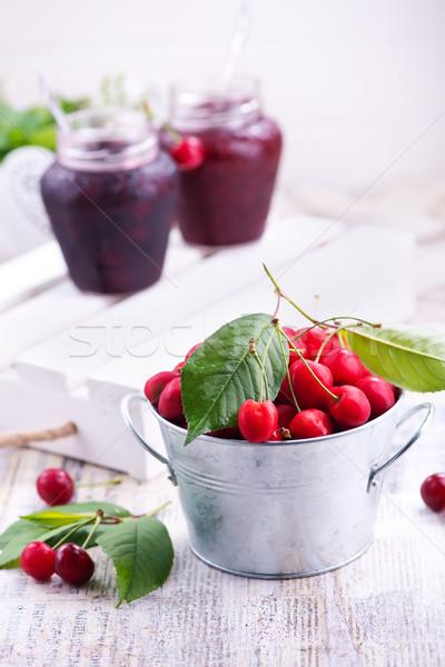 вишни свежие Вишневое таблице Ягоды здоровья Сток-фото © tycoon