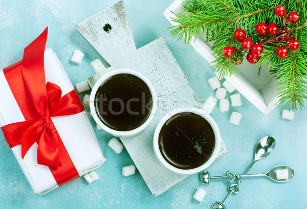 Chocolate quente tempero copo fundo inverno leite Foto stock © tycoon