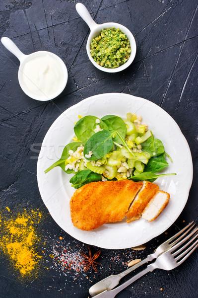 Pechuga de pollo ensalada frescos mama espinacas Foto stock © tycoon