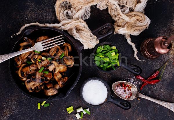 Vegetariano plato frito setas cebolla sartén Foto stock © tycoon