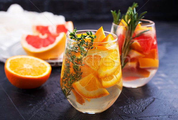 Stockfoto: Drinken · citrus · grapefruit · rosmarijn · gin · cocktail