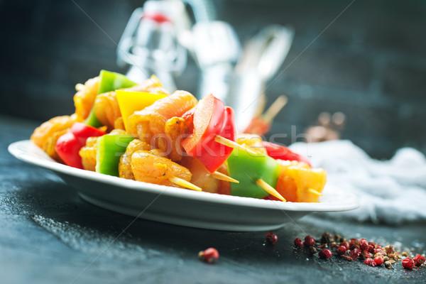 Ruw vlees kebab Spice voedsel groenten Stockfoto © tycoon