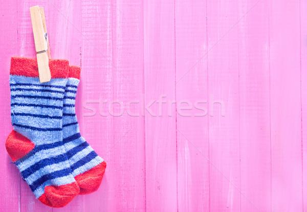 Bébé chaussettes rose table en bois fille texture Photo stock © tycoon