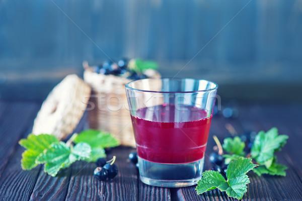 Siyah frenk üzümü meyve suyu cam tablo gıda Stok fotoğraf © tycoon