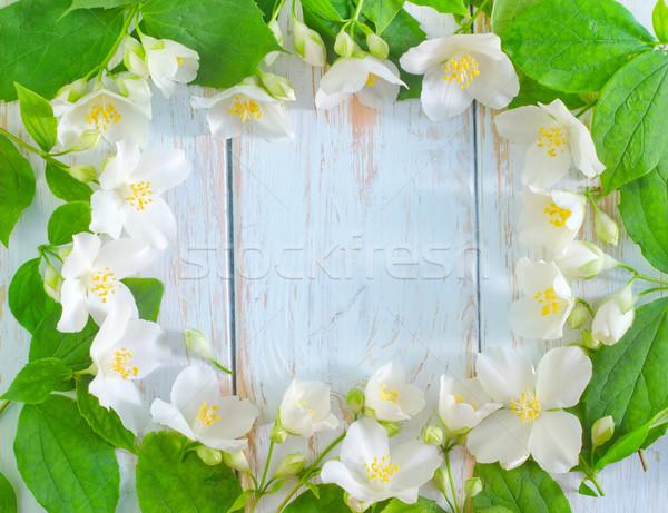 Fiori di primavera frame bianco fiore primavera foglia Foto d'archivio © tycoon