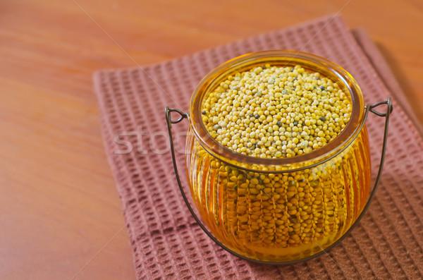 Mosterd restaurant witte lunch Spice jar Stockfoto © tycoon