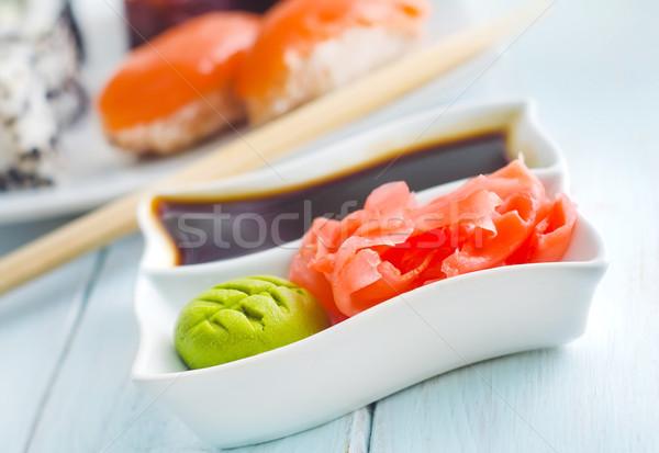 Jengibre salsa de soja blanco tazón restaurante cena Foto stock © tycoon