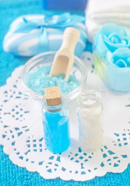Meersalz Öl Blumen Gesundheit blau entspannen Stock foto © tycoon
