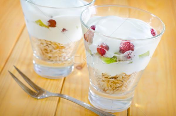 ヨーグルト 燕麦 ガラス プレート 朝食 ストックフォト © tycoon