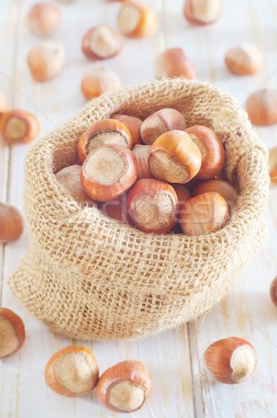 Hazelnoten textuur vruchten zak najaar vallen Stockfoto © tycoon