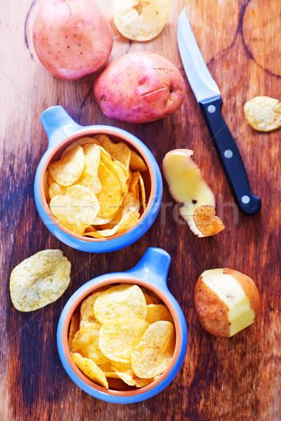 Batatas fritas tabela textura laranja rápido Foto stock © tycoon