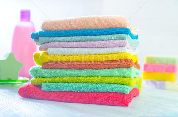 Zeep handdoeken schoonheid Blauw groep Stockfoto © tycoon