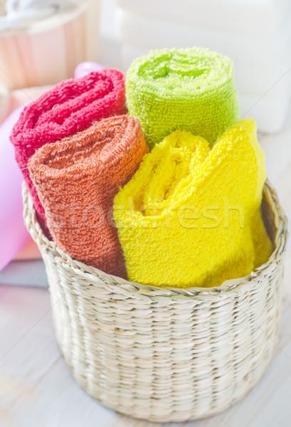 Kleur handdoeken bloem lichaam achtergrond fles Stockfoto © tycoon