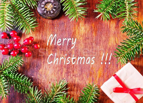 Natal decoração tabela fundo escuro papel de parede Foto stock © tycoon