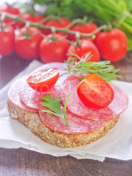 Stok fotoğraf: Sandviç · kırmızı · plaka · et · yağ · domates