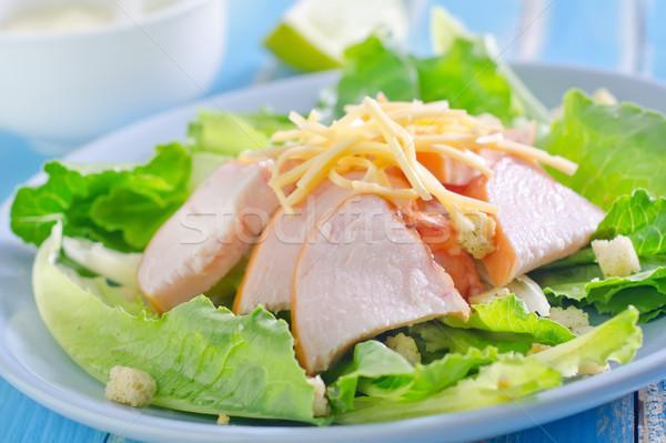 Salata gıda yaprak sağlık plaka kahvaltı Stok fotoğraf © tycoon