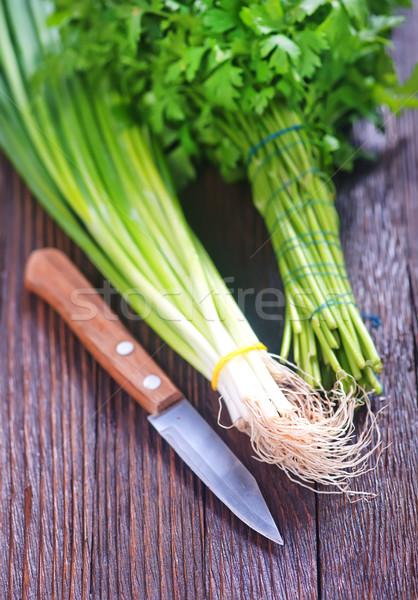 パセリ タマネギ 木製のテーブル 食品 工場 食べ ストックフォト © tycoon