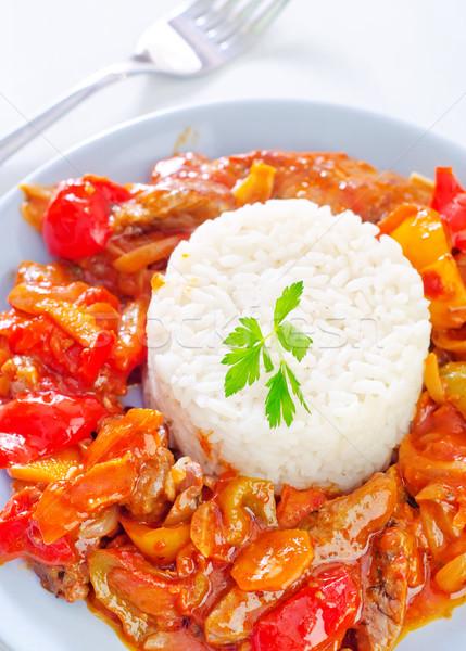 Stock fotó: Főtt · rizs · zöldségek · étterem · tej · hús
