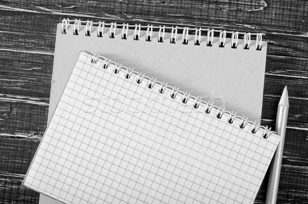 Photo stock: Note · crayon · bois · livre · bois · école