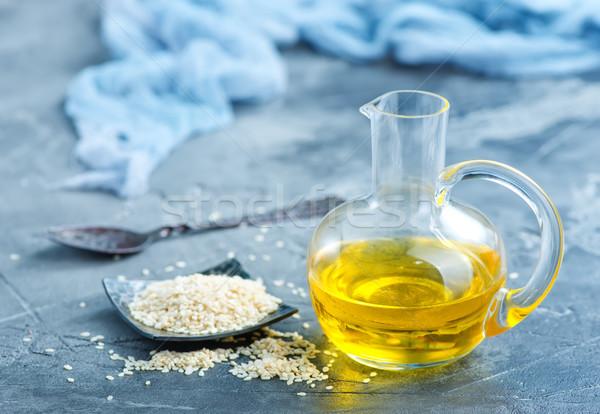 Sésamo petróleo blanco vidrio botella madera Foto stock © tycoon
