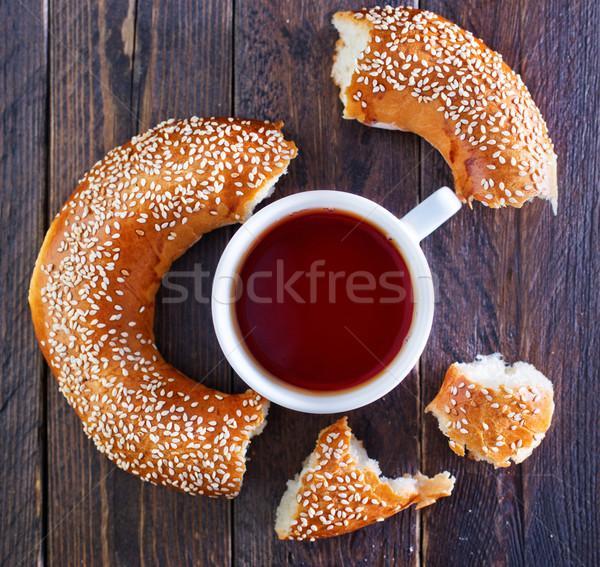 çay simit taze tablo gıda buğday Stok fotoğraf © tycoon