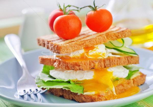 toasts with egg-poached Stock photo © tycoon