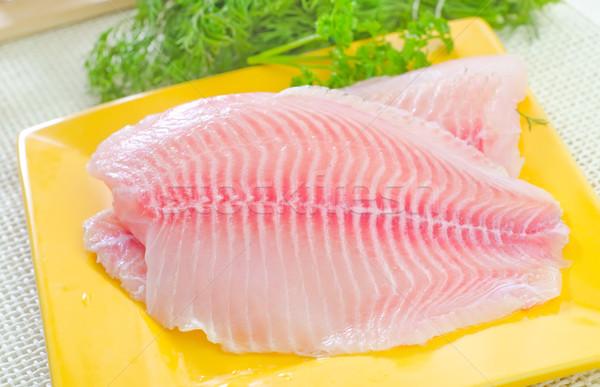 Nyers hal étel olaj tábla szakács Stock fotó © tycoon
