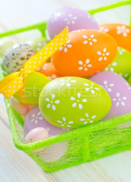 Húsvéti tojások húsvét tavasz terv tojás doboz Stock fotó © tycoon